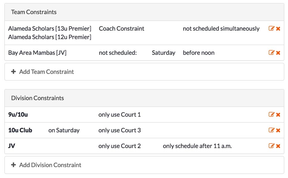 Scheduling Constraints